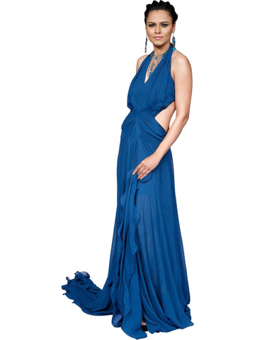 Blue Petals Gown By Anjana Anamika
