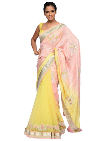Peach And Yellow Saree By Archana Nallam