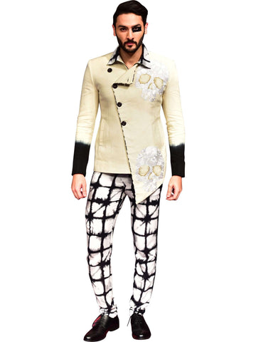 White Jacket With Printed Trouser by Abhishek Dutta
