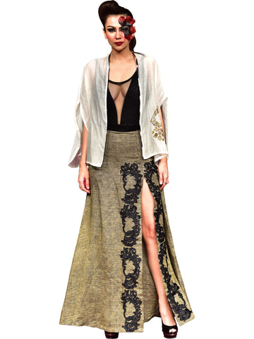 Long Slitted Skirt With Cape by Abhishek Dutta - Wear.Style