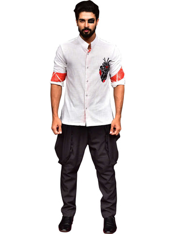 Motif Shirt With Black Trouser by Abhishek Dutta - Wear.Style