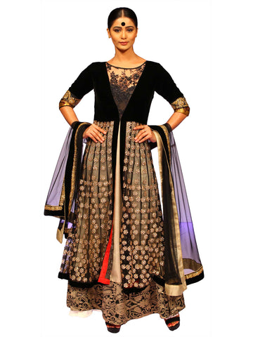 Black Net Anarkali by Chandri Mukherjee