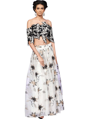 Black And White Crop Top With Skirt By Niharika Vivek