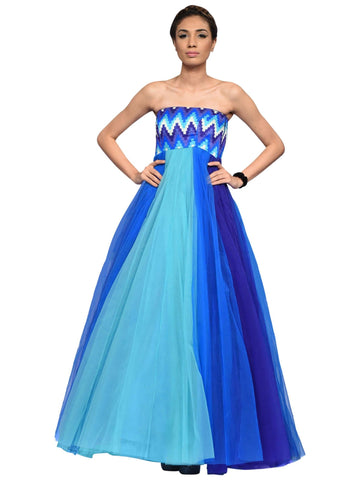 Blue Floor Length Gown By Archana Nallam