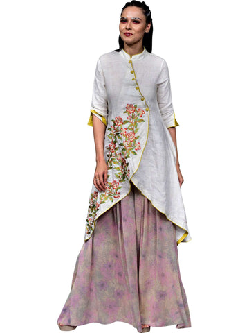 Overlap Embroidered Kurta With Chinese Collar by Abhishek Dutta - Wear.Style