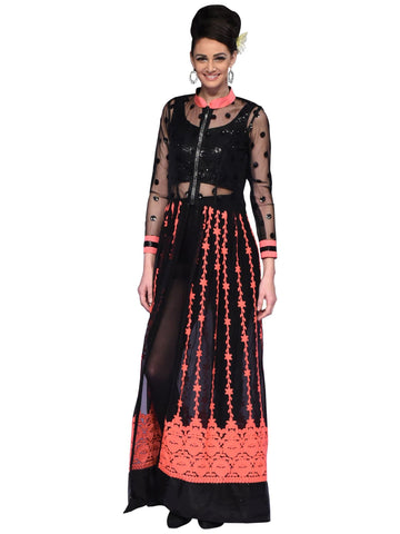 Black And Neon Peach Long Dress By Arun Dhall