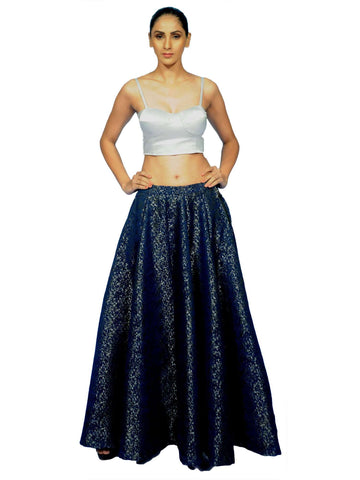 Sliver Blouse With Blue Long Skirt By Anvita Thakkar