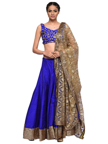 Blue And Antic Gold Lehenga By Archana Nallam