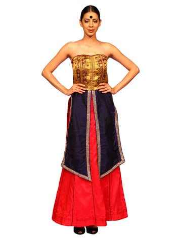 Majenta Baluchori Boned Corset With Skirt by Chandri Mukherjee