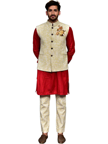 One Side Nehru Jacket Red Kurta With Cuff Golden Floral Print  By Abhishek Dutta