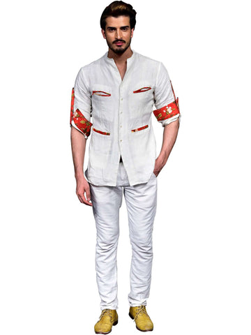 High Neck Shirt With Pockets Detailing By Abhishek Dutta