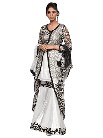 White And Black Sharara With Coat By Arshi Jamal