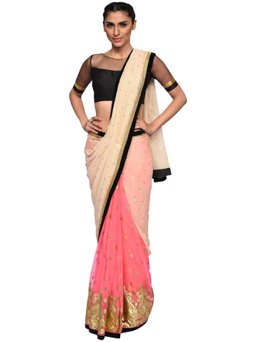 Pink And Cream Saree By Archana Nallam