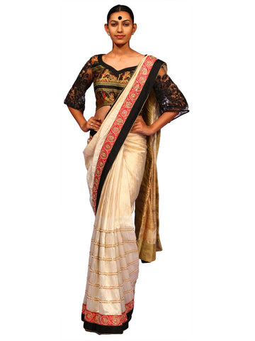 Off White Pure Dupion Silk Saree by Chandri Mukherjee