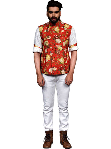 Floral Digital Printed Overlapped Nehru Jacket Chinese Collar Shirt by Abhishek Dutta