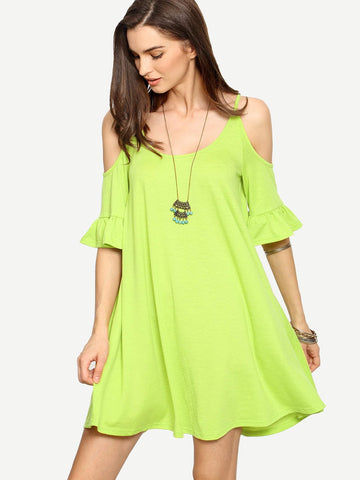 Spaghetti Strap Cold Shoulder Ruffle Cuff Shift Dress