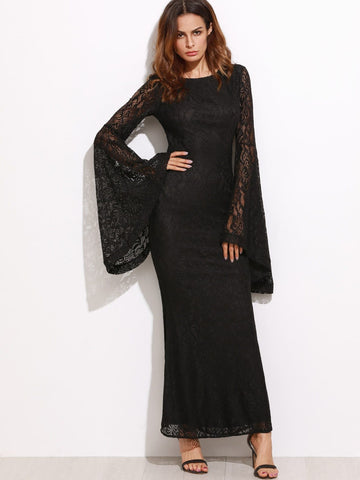 Black Boat Neck Oversized Bell Sleeve Floral Lace Maxi Dress
