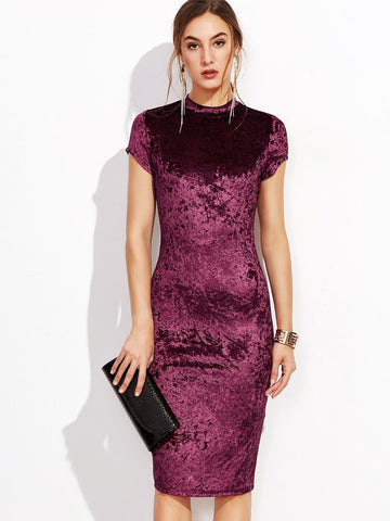 Burgundy Cap Sleeve Round Mock Neck Crushed Velvet Pencil Dress