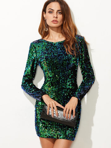 Green V Back Sequin Bodycon Mini Dress