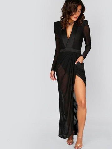 Deep V Neck Long Sleeve Shoulder Pads Sheer Wrap Dress