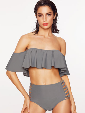 Grey Off Shoulder Frill Bardot Neckline Ladder Cutout Bikini Swimwear