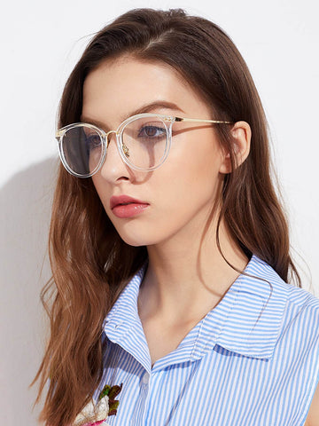 Metal Frame Clear Lens White Glasses
