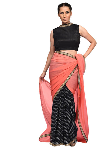 Peach Saree By Archana Nallam