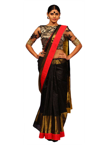 Black And Gold Zari Dupion Silk Saree by Chandri Mukherjee