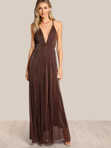 Coffee Polyester Deep V Neck Sleeveless Spaghetti Strap Glitter Overlay Dress