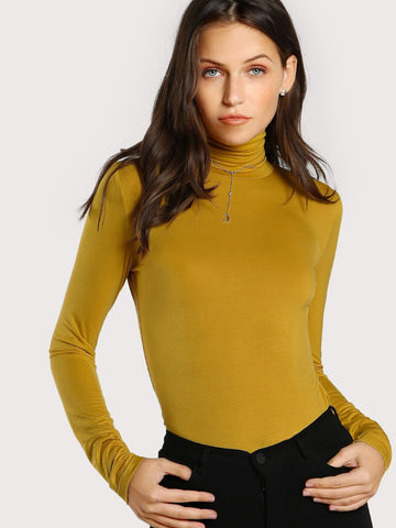 Long Sleeve High Neck Form Fitting Slim Fit Top