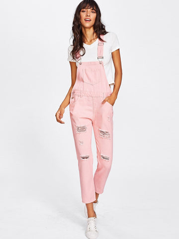 Pink Sleeveless Pocket Front Ripped Denim Overalls Jumpsuits
