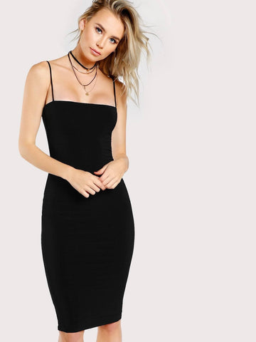 Sleeveless Spaghetti Strap Solid Form Fitted Cami Pencil Dress