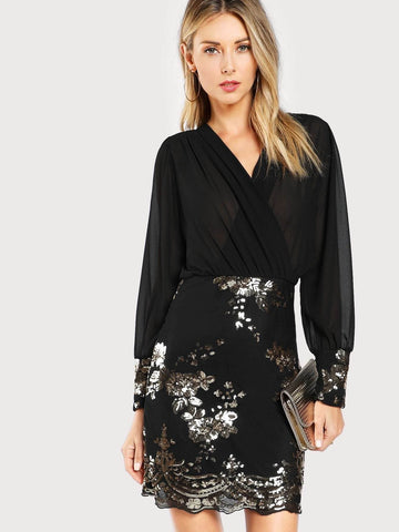 Black Sequin Flower Semi-sheer Wrap Bodice Dress