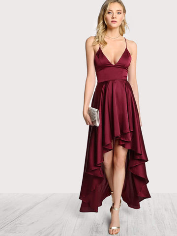 Sleeveless V-Neck Spaghetti Strap Crisscross Backless High Low Satin Cami Dress