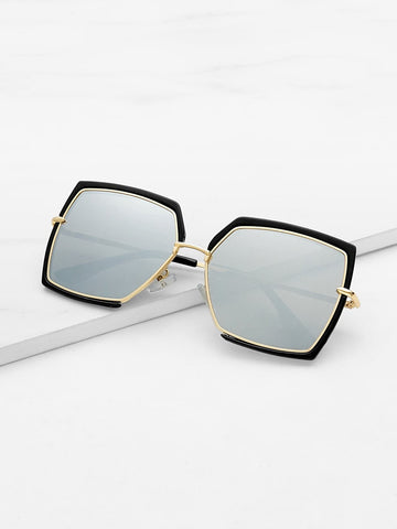 Irregular Flat Grey Lens Sunglasses