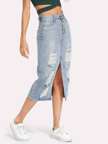 Mid Waist Split Front Ripped Faded Denim Skirt