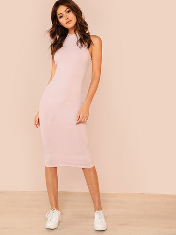Sleeveless Stand Collar Solid Rib-knit Pencil Tank Dress
