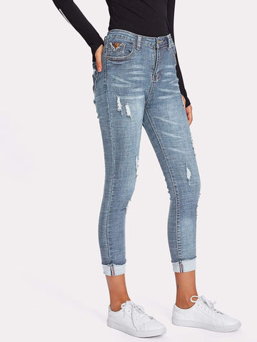 Tappered Rolled Hem Ripped Skinny Jeans