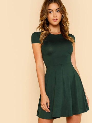 Round Neck High Waist V Back Cap Sleeve Fit & Flare Dress
