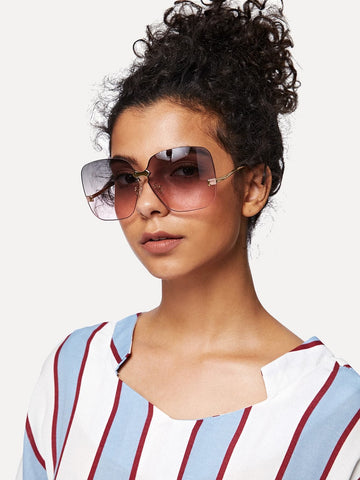 Multicolor Metal Temple Rimless Sunglasses