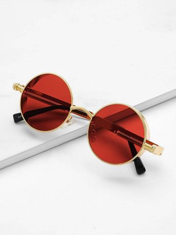 Red Metal Frame Round Lens Sunglasses