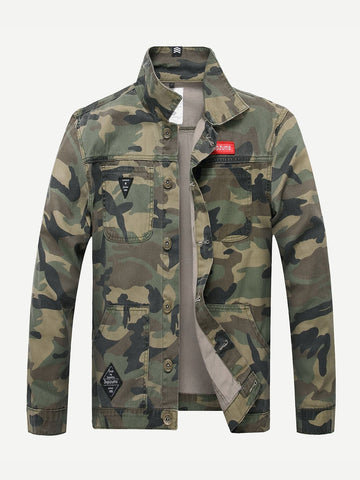 Army Green Single Button Camouflage Denim Jacket