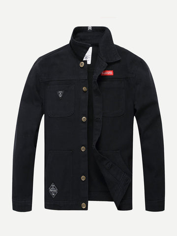 Black Funnel Neck Single Breasted Denim Jacket