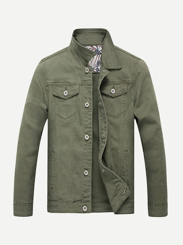 Army Green Single Breasted Contrast Stitching Plain Denim Jacket