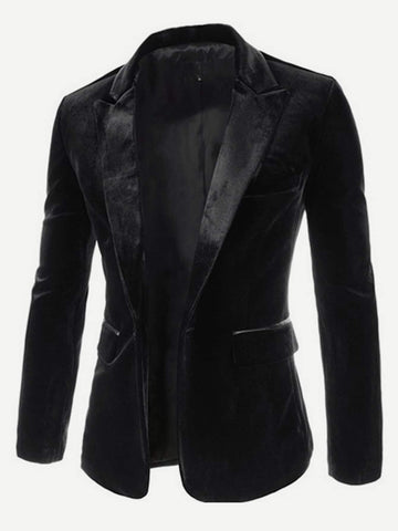 Shawl Collar Single Button Velvet Blazer