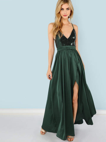 Deep V-Neck Spaghetti Strap Sleeveless Sequin Panel Split Maxi Cami Dress