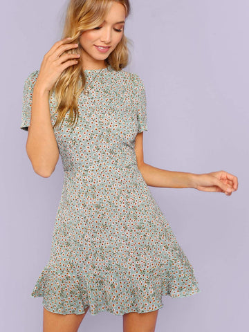 Round Neck Short Sleeve Allover Floral Print Ruffle Hem Textured Dress
