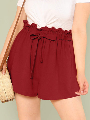 Belted Pleated Plus Solid Paperbag Waist Shorts
