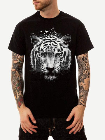 Black Cotton Round Neck Short Sleeve Tiger Print Tee