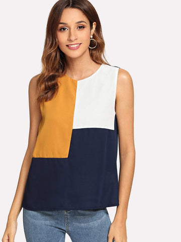Round Neck Keyhole Back Color-block Sleeveless Top